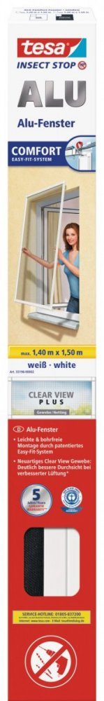 Hliníkový rám se sítí proti hmyzu, do okna, bílý rám, antracitová síť, 1,4m x 1,5m
