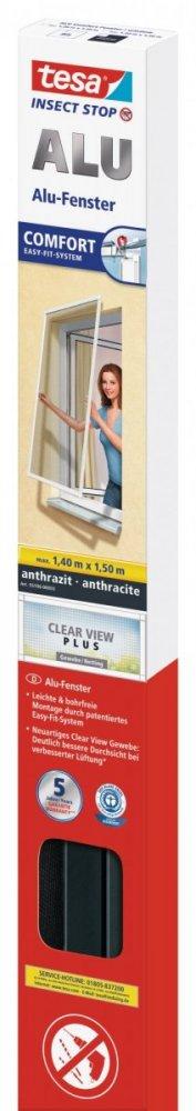 tesa®Hliníkový rám se sítí proti hmyzu, do okna, antracitový rám i síť, 1,4m x 1,5m