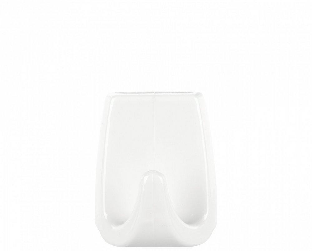 Permanent Háčky, obdélníkové háčky větší L, bílý plast, pro lehké předměty, v balení 2ks