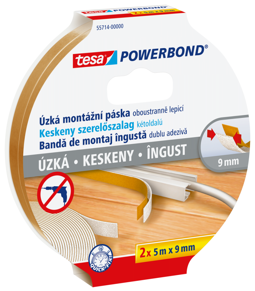 Úzká montážní páska Powerbond Slim - pěnová, 2ks v balení, 5m:9 mm