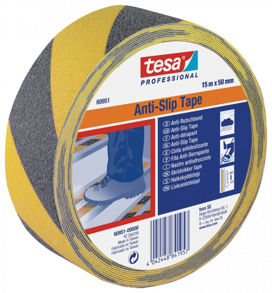Protiskluzová samolepicí páska, výstražná, černo-žlutá, 15m x 50mm