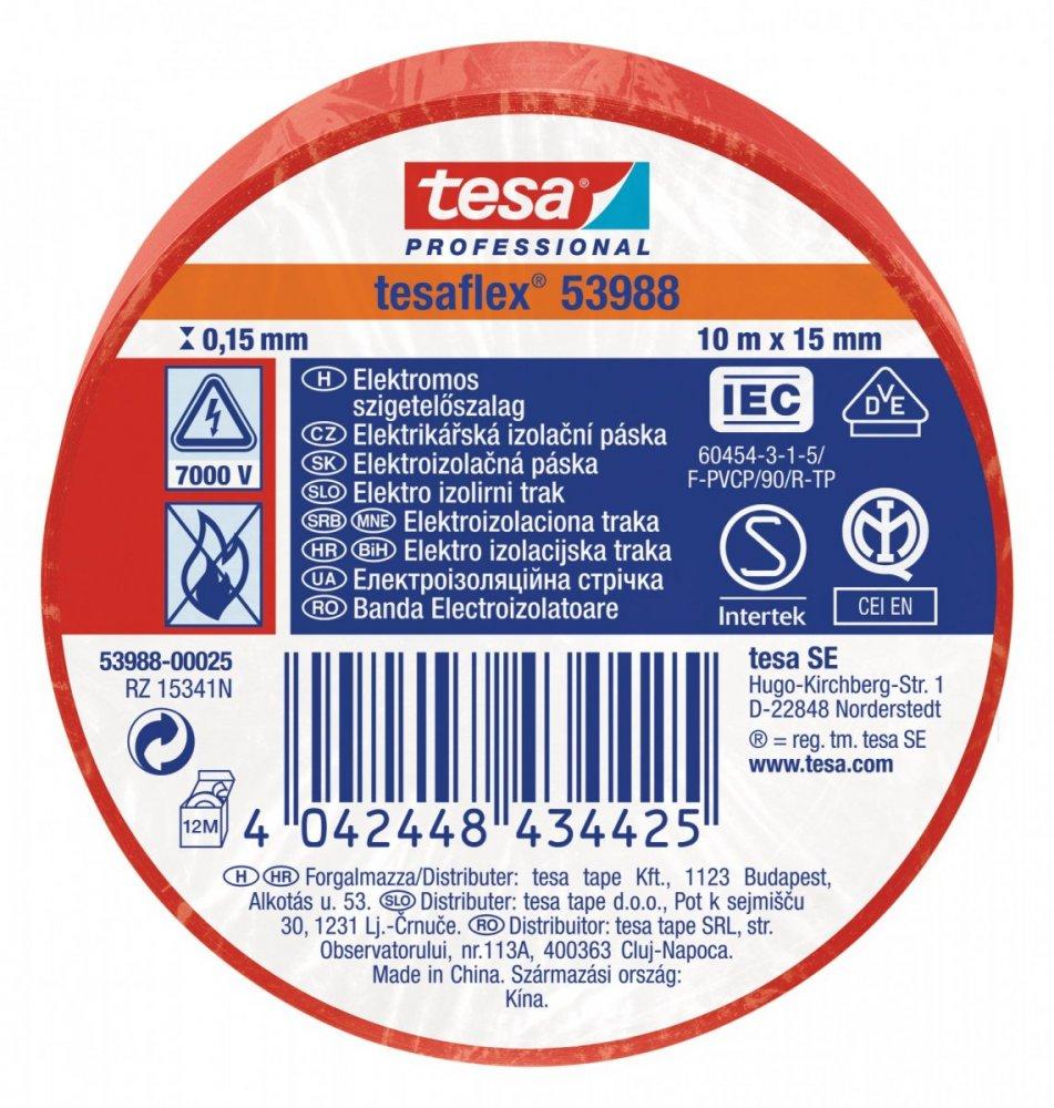 Elektroizolační PVC páska, splňuje normu IEC, červená, 10m x 15 mm