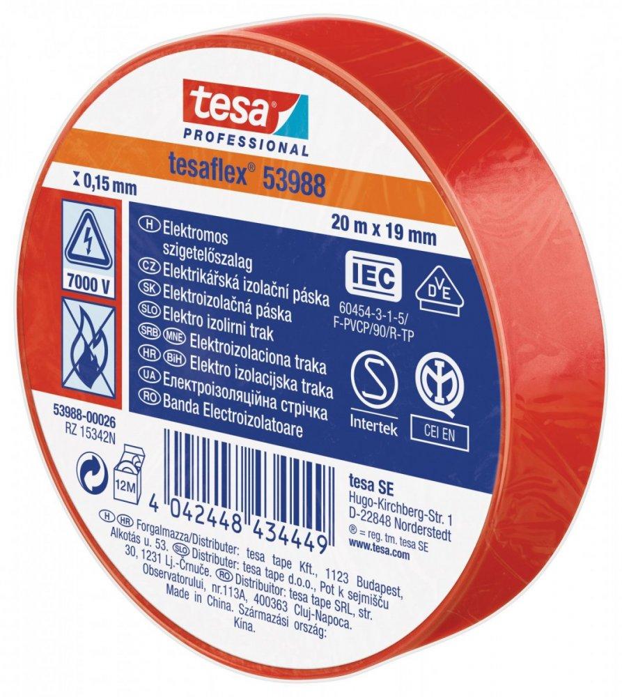 Elektroizolační PVC páska, splňuje normu IEC,červená, 20m x 19 mm