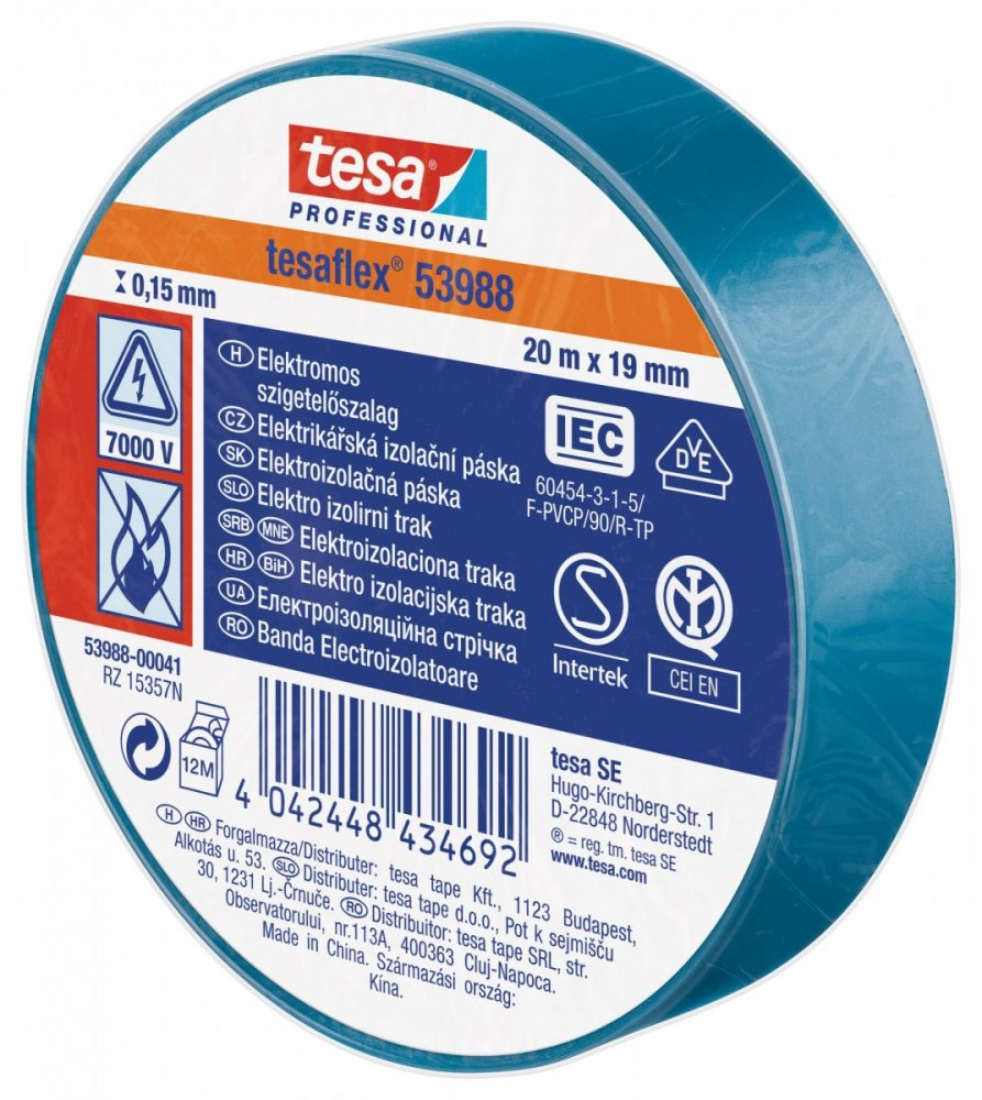 Elektroizolační PVC páska, splňuje normu IEC, modrá, 20m x 19 mm