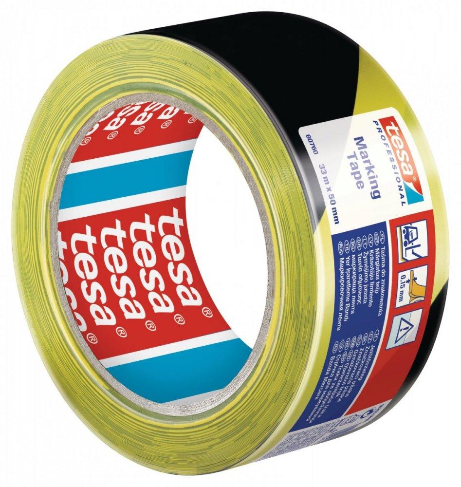 Vyznačovací páska PVC pro trvalé značení, žluto-černé šrafování, 33m x 50mm