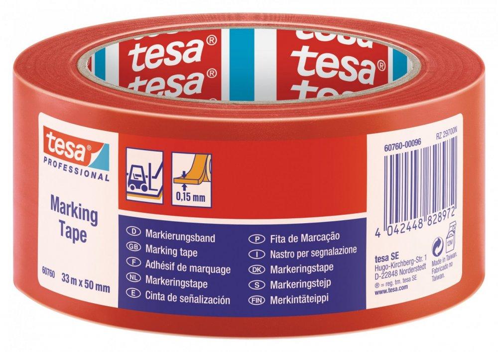 Vyznačovací páska PVC pro trvalé značení, červená, 33m x 50mm