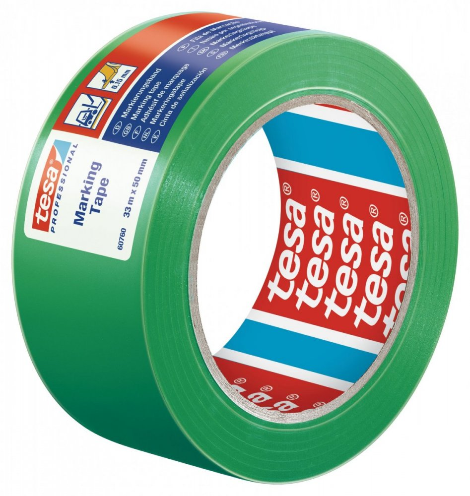 Vyznačovací páska PVC pro trvalé značení, jasně zelená, 33m x 50mm