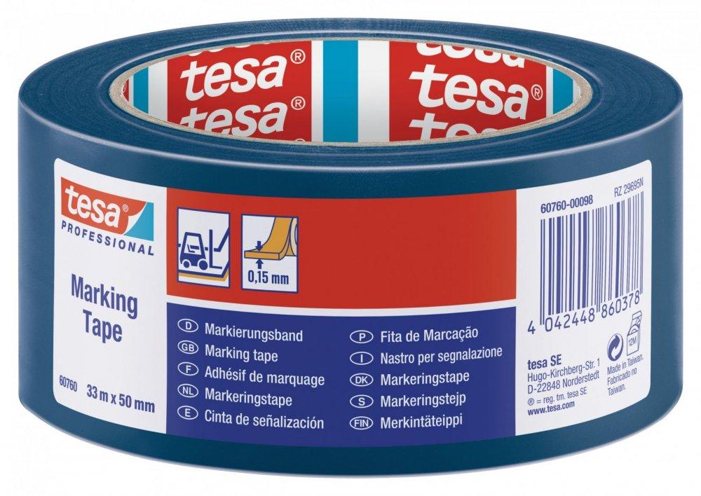 Vyznačovací páska PVC pro trvalé značení, modrá, 33m x 50mm