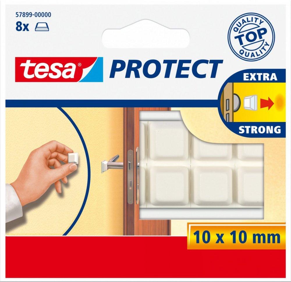 Gumový nárazník pro kliky dveří, čtvercový, bílý, 10mm x 10mm, balení 8ks