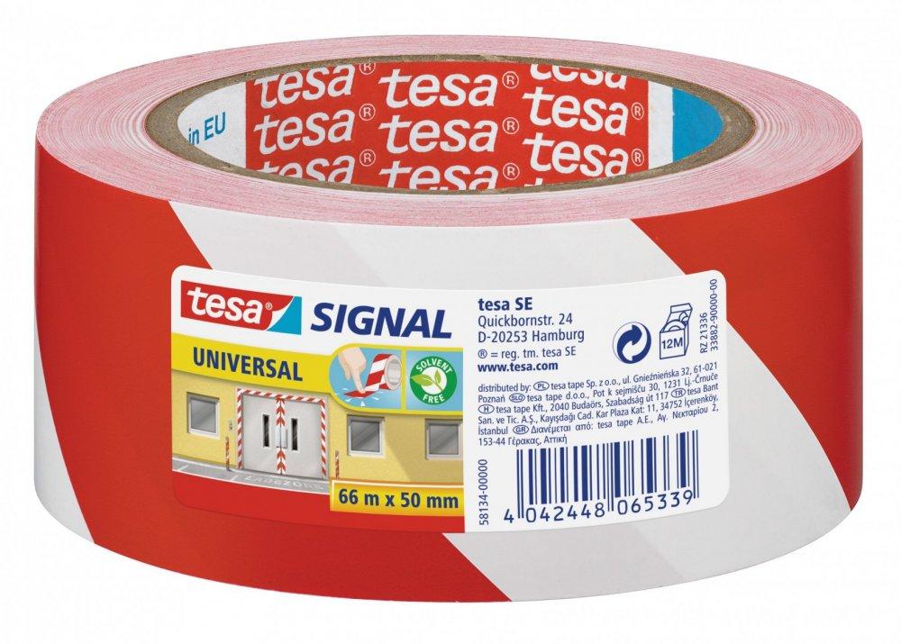 Vyznačovací páska PP pro dočasné značení, červeno-bílé šrafování, 66m x 50mm