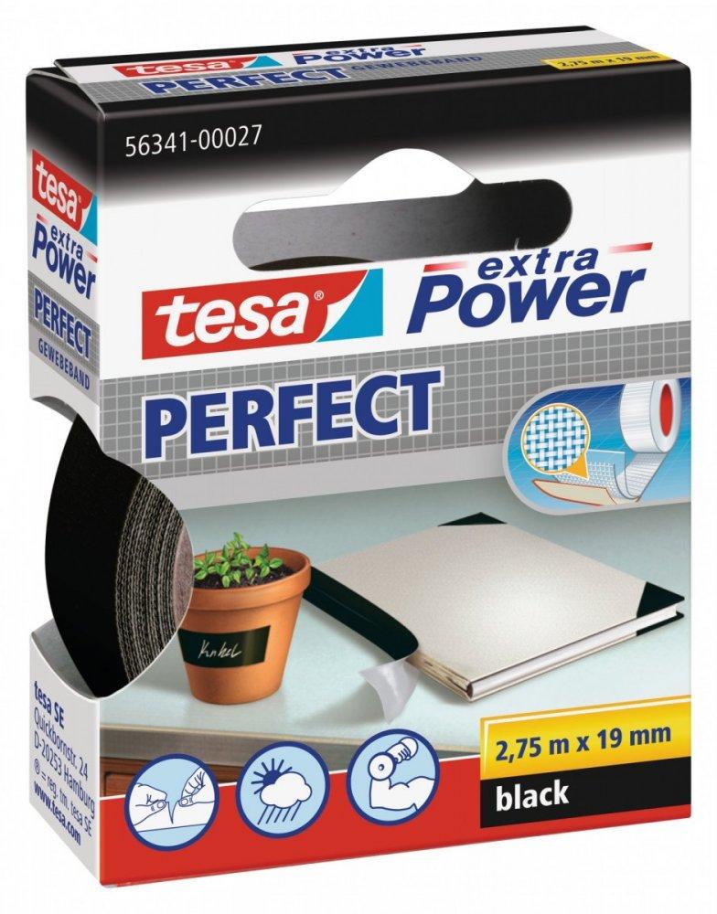 Opravná páska Extra Power Perfect, textilní, odolná, černá, 2,75m x 19mm