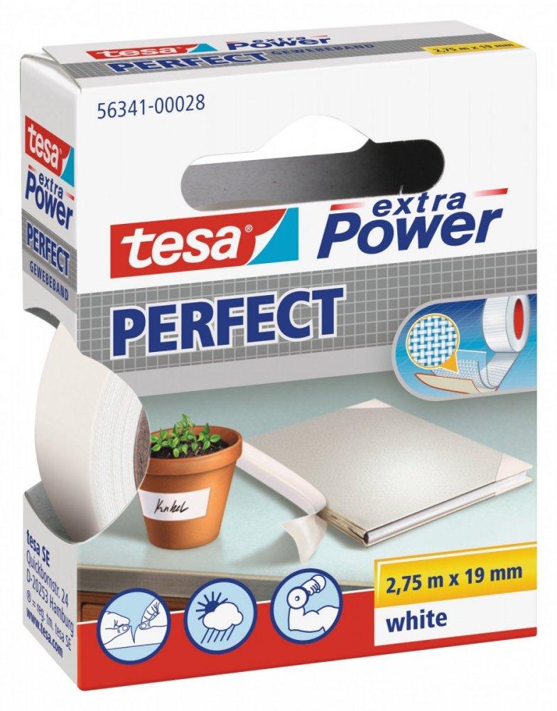 Opravná páska Extra Power Perfect, textilní, odolná, bílá, 2,75m x 19mm
