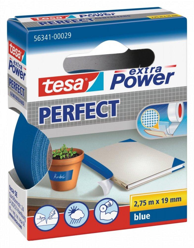 Opravná páska Extra Power Perfect, textilní, odolná, modrá, 2,75m x 19mm