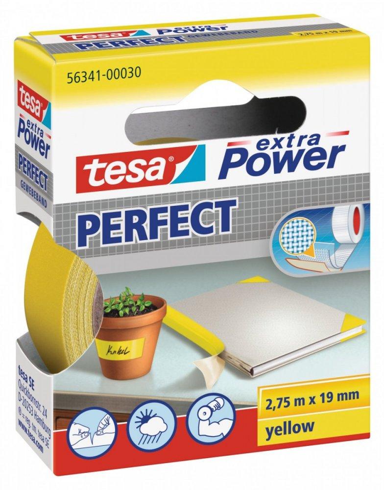 Opravná páska Extra Power Perfect, textilní, odolná, žlutá, 2,75m x 19mm