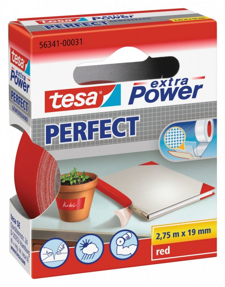 Opravná páska Extra Power Perfect, textilní, odolná, červená, 2,75m x 19mm