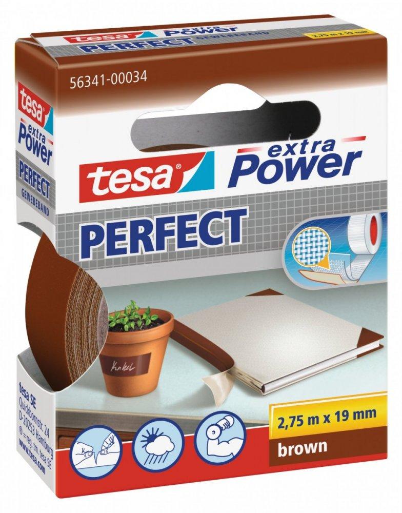 Opravná páska Extra Power Perfect, textilní, odolná, hnědá, 2,75m x 19mm