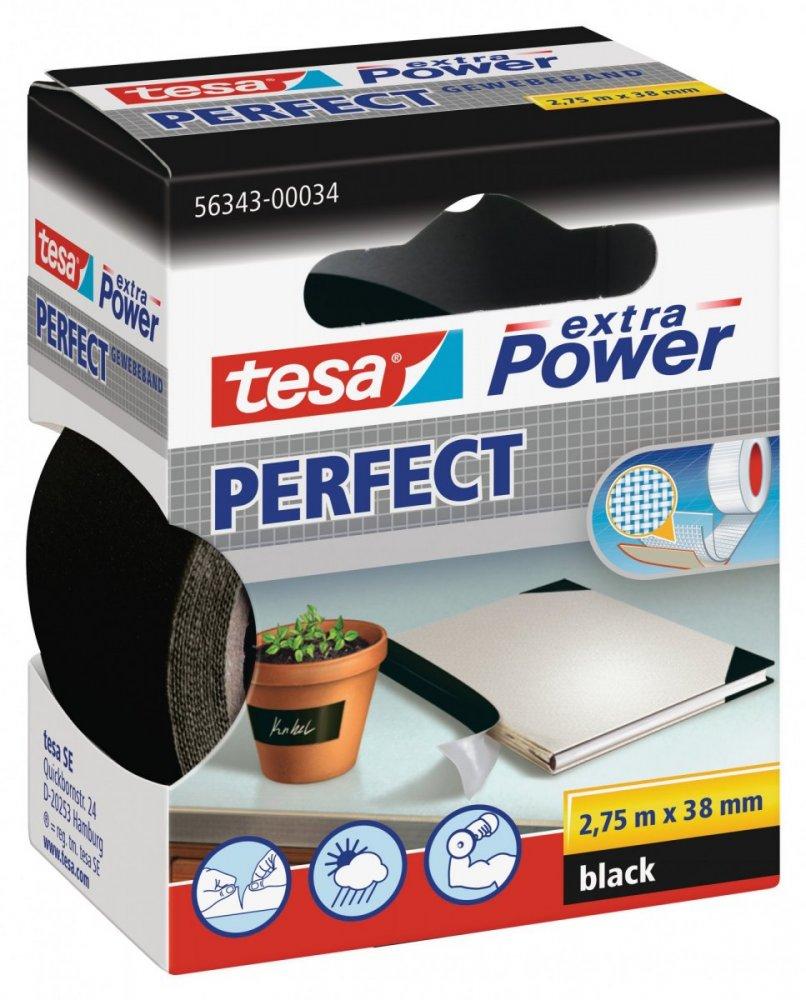 Opravná páska Extra Power Perfect, textilní, odolná, černá, 2,75m x 38mm