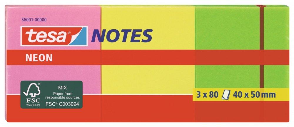 Samolepicí poznámkové bločky Neon 3x80ks, růžové, žluté, zelené, 50mm x 40mm
