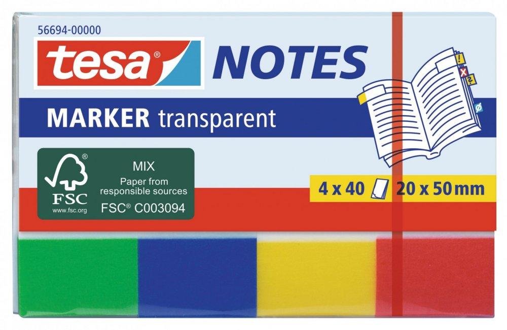 Záložky / Poznámkové bločky Transparent, 4x 40ks, 20mm x 50mm