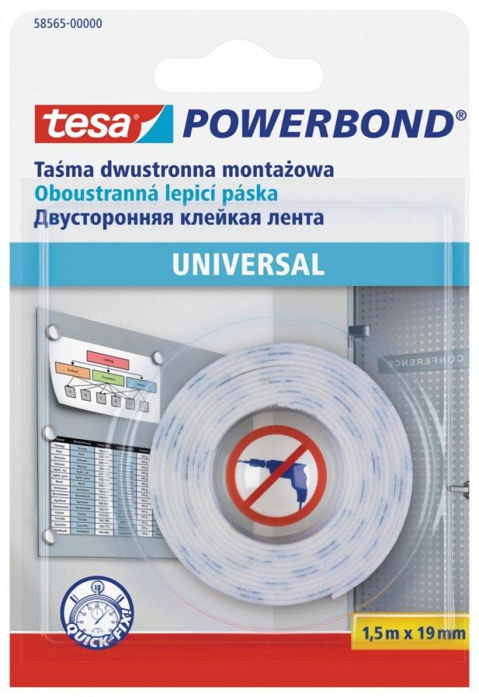 Montážní oboustranná pěnová páska UNIVERSAL, bílá, 1,5m x 19mm