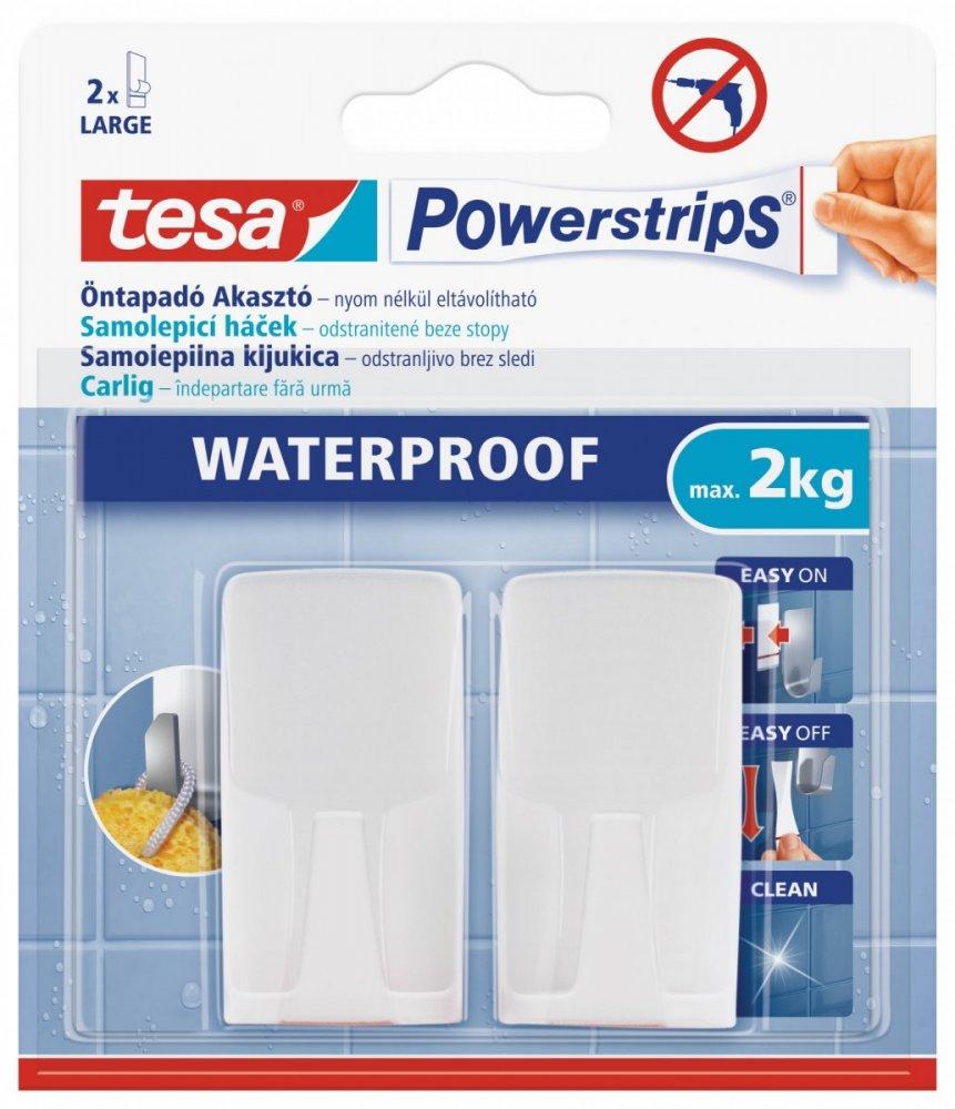 Waterproof Háčky, voděodolné, obdélníkové velké, bílý plast, nosnost 2kg, v balení 2ks