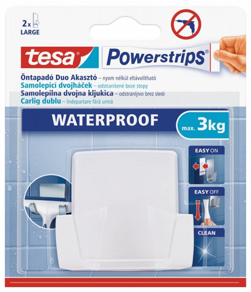 Waterproof Háčky, voděodolný, dvojháček, bílý plast, nosnost 3kg, v balení 1ks