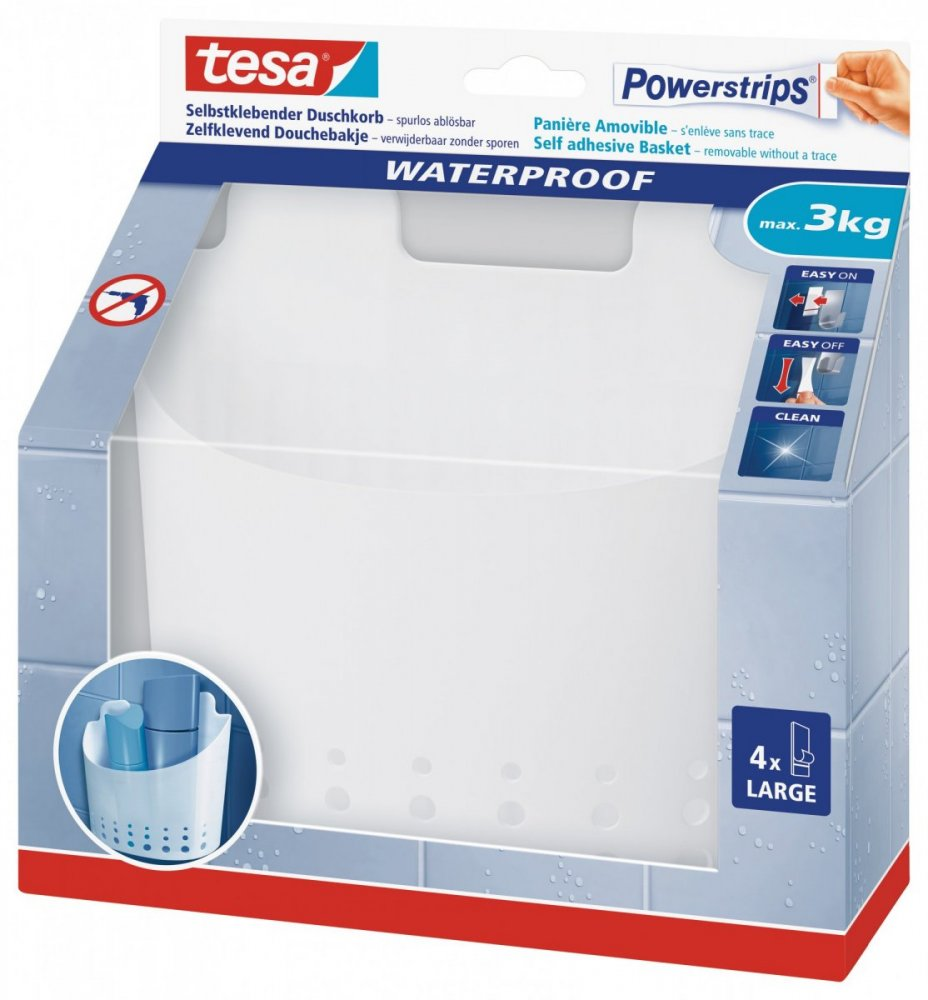 Waterproof Háčky, voděodolný, velký košík, bílý plast, nosnost 3kg, v balení 1ks