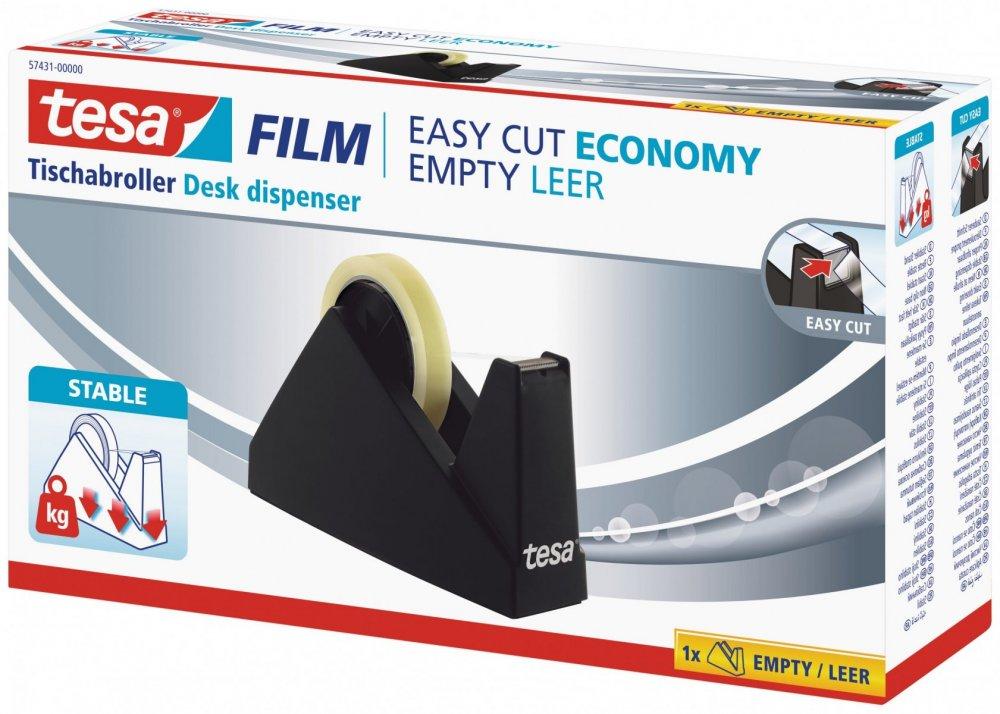 Economy, Stolní odvíječ pásky, zubaté ostří, plastový, černý, pro pásky do 66m x 25mm