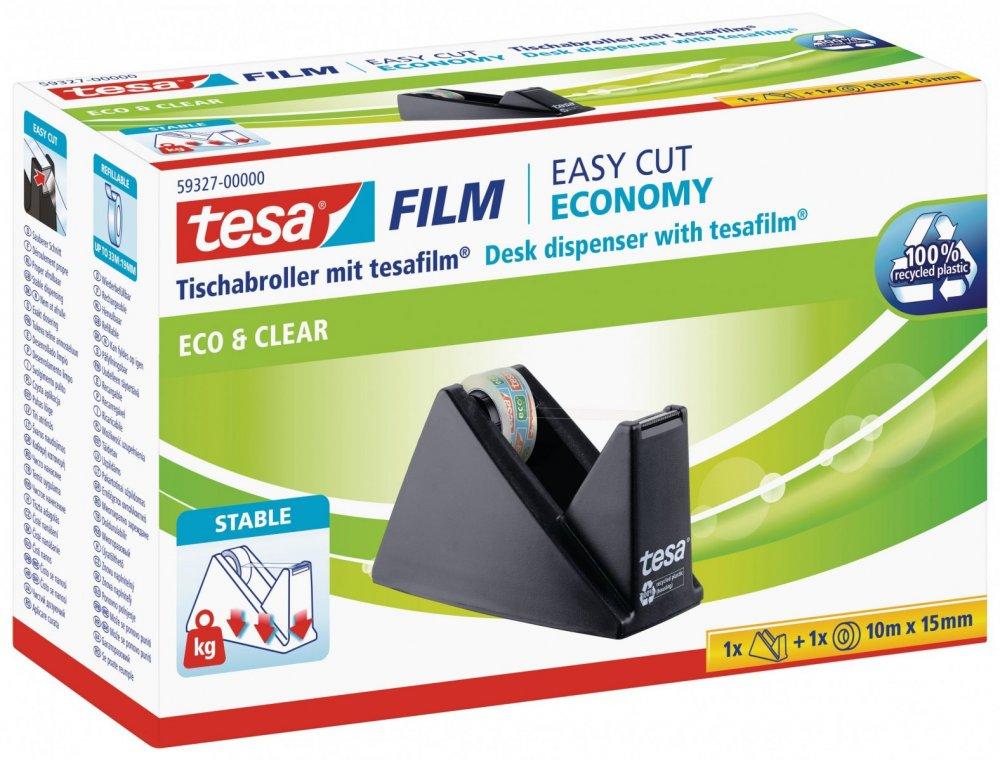 Stolní odvíječ pásky ecoLogo® s páskou ECO&CLEAR, zubaté ostří, plastový, černý, dodáváno s páskou 10m x 15mm
