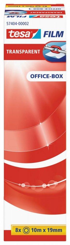 Kancelářská páska TRANSPARENT, kancelářské komínkové balení, 8ks 10m x 19mm