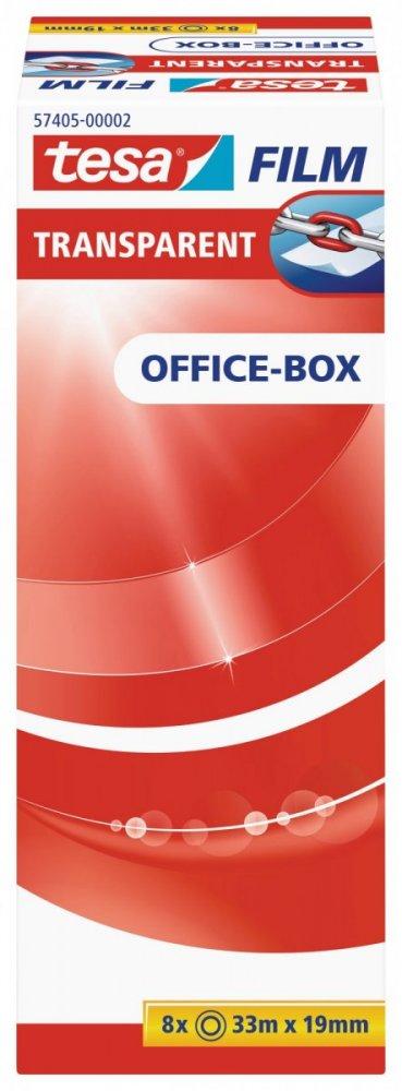 Kancelářská páska TRANSPARENT, kancelářské komínkové balení, 8ks 33m x 19mm
