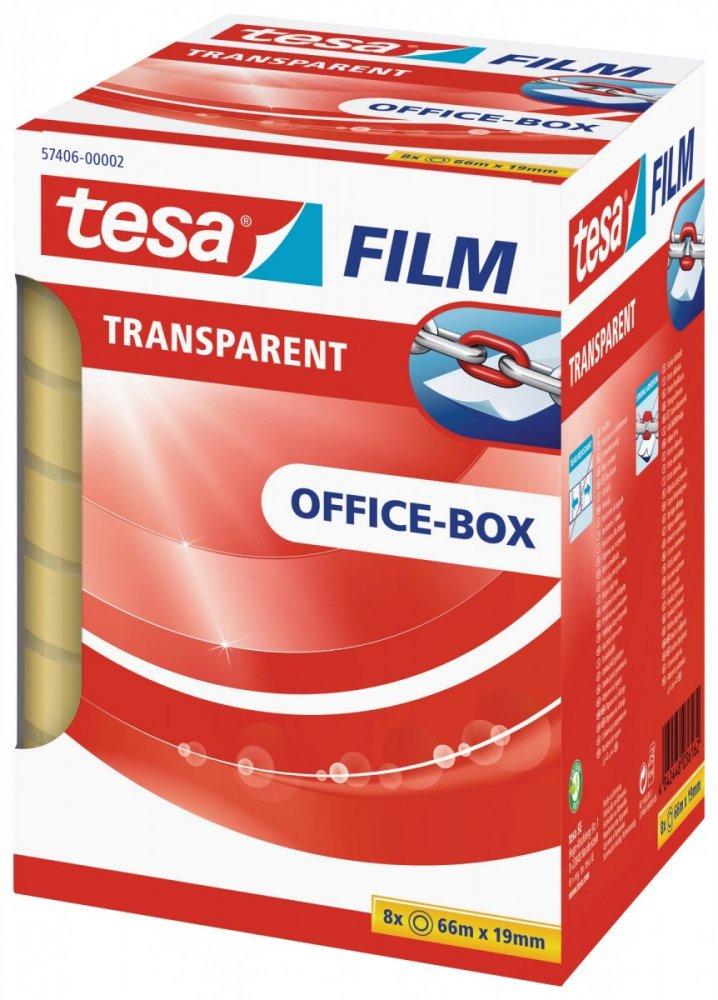 Kancelářská páska TRANSPARENT, kancelářské komínkové balení, 8ks 66m x 19mm