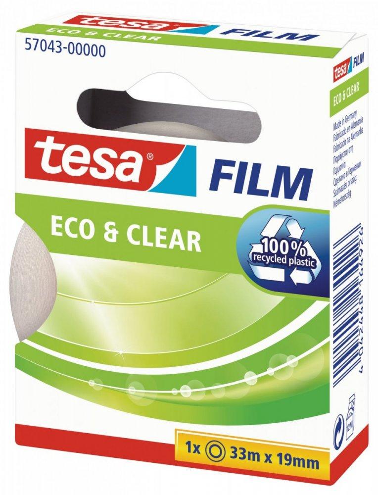 Eco&Clear, čirá ekologická kancelářská páska, 33m x 19mm