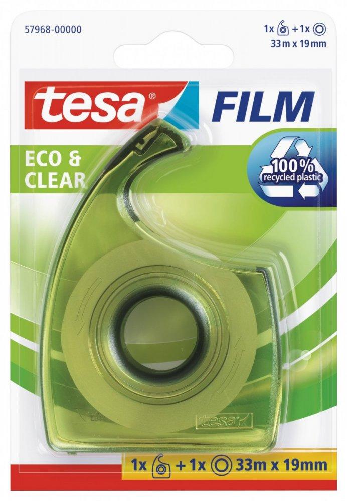 Eco&Clear, čirá kancelářská páska s ručním odvíječem, průhledná, 33m x 19mm
