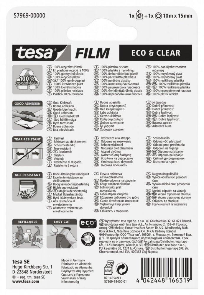Eco&Clear, čirá kancelářská páska s ručním odvíječem, průhledná, 10m x 15mm