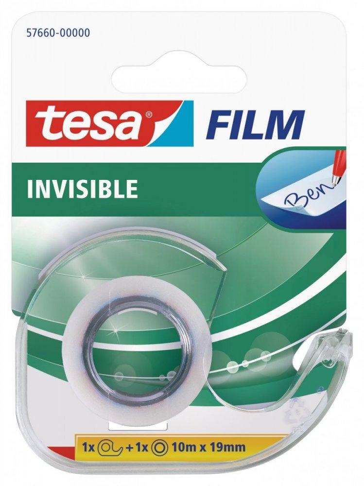 Kancelářská páska INVISIBLE s odvíječem, neviditelná, 10m x 19mm
