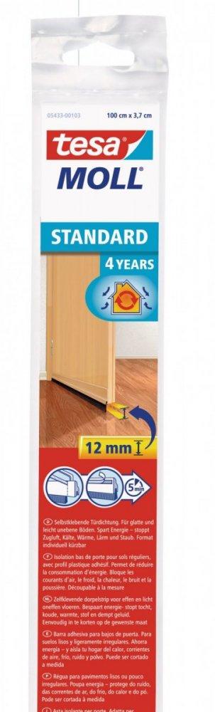 Kartáčová lišta pod dveře, na hladké povrchy (dlažba, parkety), béžová, 1m x 12mm
