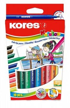 Dětské fixy Korello, tenký hrot 10 barev