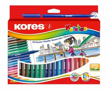 Dětské fixy Korello, tenký hrot 20 barev