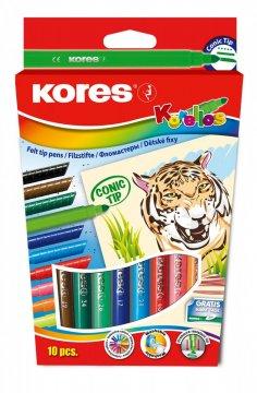 Dětské fixy Korello – silný hrot, 10 barev