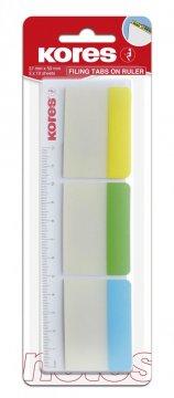 Popisovací rozřazovač na pravítku 50x37 mm / 3 barvy / 10 lístků každá barva