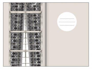 Tečkovaný zápisník, krajkové záclony, 195 x 135 mm