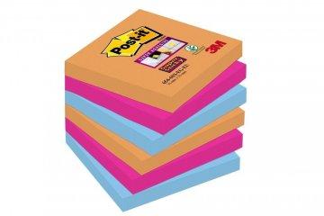3M Post-it silně lepicí Z-bločky kolekce Bangkok, velikost 76x76 mm, 2x oranžová, 2x fuchsiová, 2x modrá, 6 bločků po 90 lístků