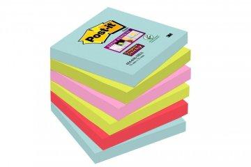 3M Post-it silně lepicí bločky kolekce Miami, velikost 76x76 mm, 2x modrá, 2x zelená, 2x maková, 6 bločků po 90 lístků
