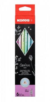Grafitos STYLE Metallic, 6 ks – grafitové tužky s pryží