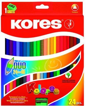 Trojhranné oboustranné pastelky 3 mm, s ořezávátkem / 24 barev / + 2 metal. Barvy