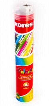 Trojhranné pastelky, 3 mm, s ořezávátkem / 12 barev, v plechové tubě