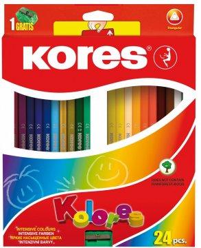 Trojhranné pastelky, 3 mm, s ořezávátkem / 24 barev
