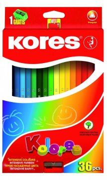 Trojhranné pastelky, 3 mm, s ořezávátkem / 36 barev / vč. 2 metal. barev