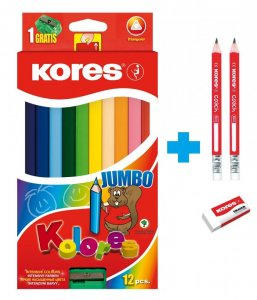 AKCE Jumbo trojhranné pastelky 5 mm, s jumbo ořezávátkem / 12 barev + 2 tužky Coach a pryž